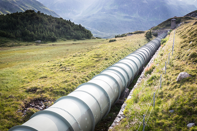 pipeline at the silvretta-lake in austria
